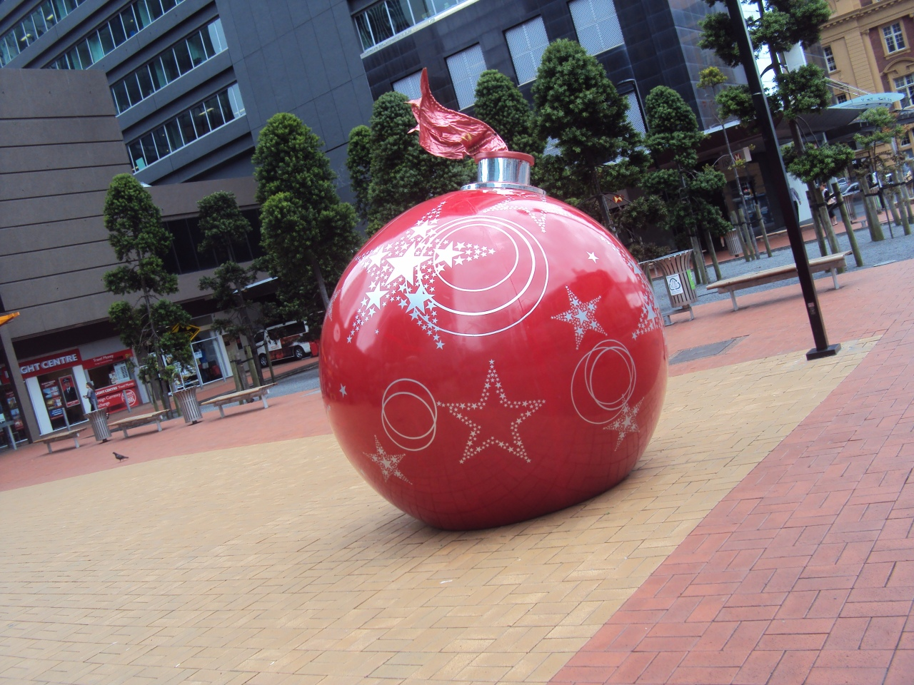 Downtown Auckland CBD Britomart- one large christmas red  ornament