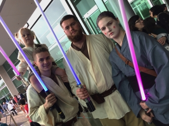 a family of Jedi pasting down the their star wars stories to the next generation..