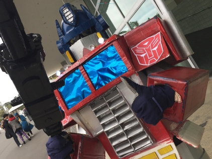 Classic Transformer Cosplay of optimus prime- in which you can make the basics of cosplay from cardboard from the ground up..