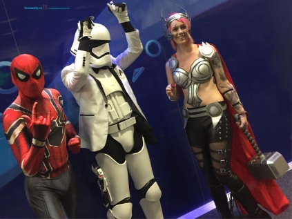 A mixture of Genres, from Marvel Spiderman, to disco Star Wars third trilogy storm trooper, with the Marvel's Female Thor..