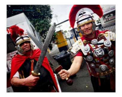 There's always Roman Centurions in which these two are missing their great grand general on that day.. crossing of their swords shows that..