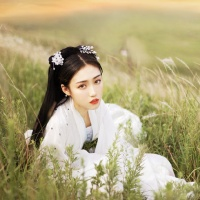 #漢服 #HanFu #HanDynastyClothing | #十只喵ww #Huangnannan | #FashionLookBook #TangDynastyClothing- #Everydaywear- for a transitional white summery spring Autumn countryside warmth sheerness..