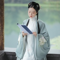 #漢服 #HanFu #HanDynastyClothing | #明珠SARA  | #FashionLookBook - #Everydaywear #MingDynastyClothing- for a transitional pastel summery spring white autumn pavilion halls mint jade sheerness..