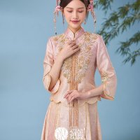 #QIPAO #旗袍 #Cheongsam |#倒叙中式礼服 #ChineseWeddingQipao #November2020 | #FashionLookBook your timeless #TraditionalChineseWeddingDress #MingDynastyClothing with #QingDynastyClothing your individual handcrafted sewn style with Embroidery Pink jades Hua summery Flowers…